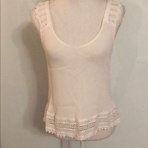 LOVE STITCH white tank top with embroidered detail